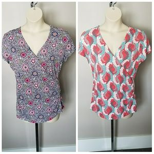 2 Boden Floral Wrap Tops Size 16